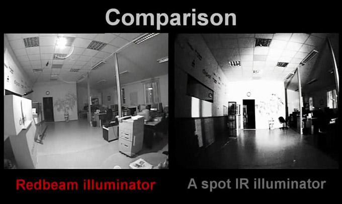 Сравнение работы инфракрасного прожектора Red Beam IR-60180 с другими ИК-прожекторами